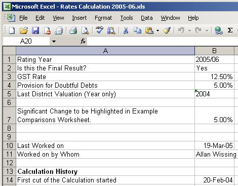 Rates Calculation Tool - Variables